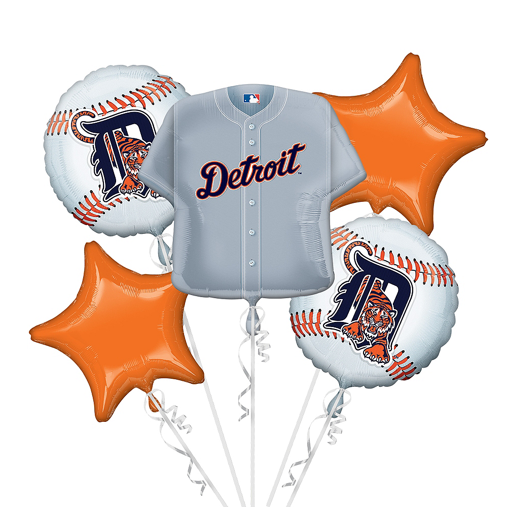Detroit Tigers Balloon Bouquet 5pc - Jersey Image #1