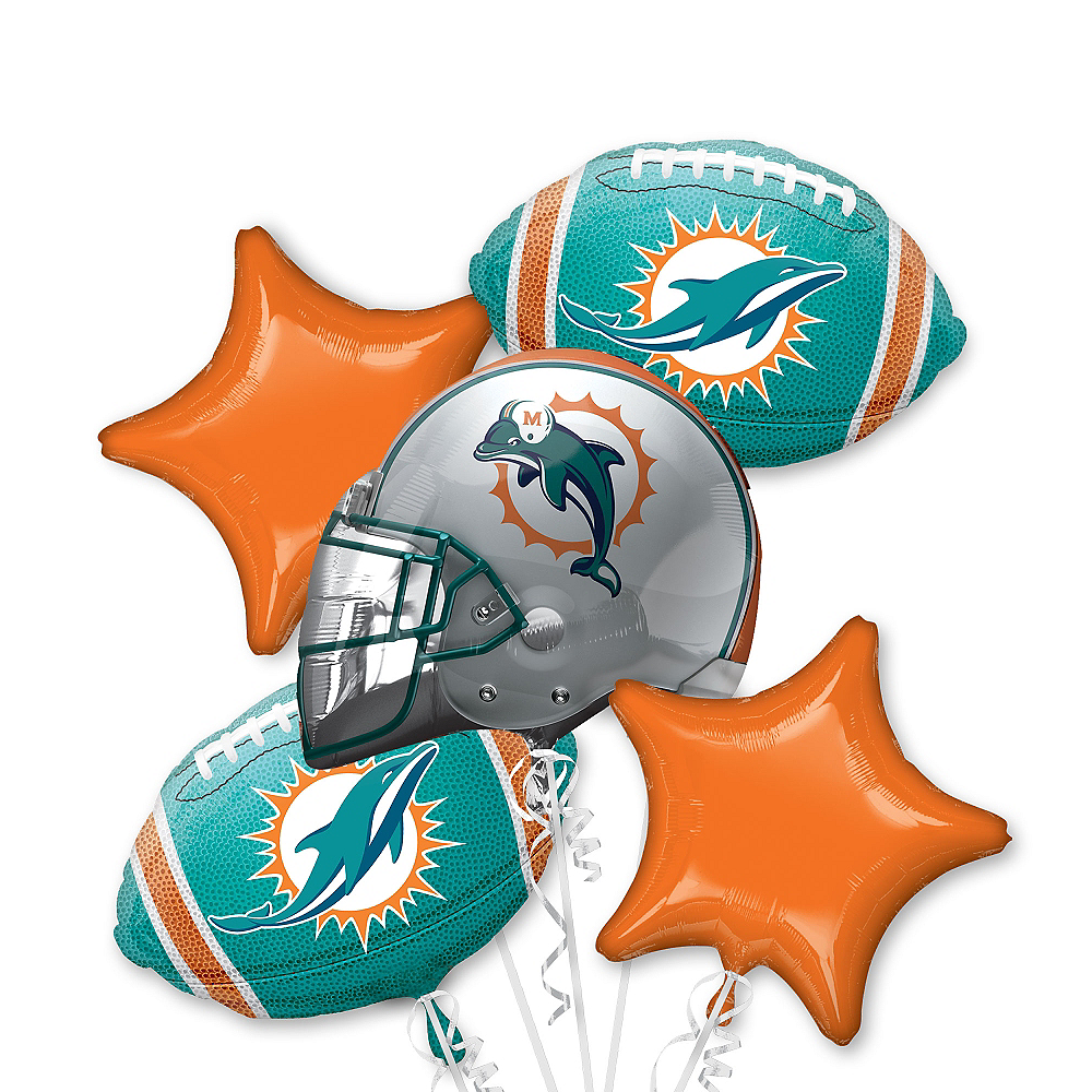 Miami Dolphins Balloon Bouquet 5pc Image #1