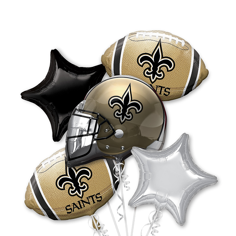 Wondrous New Orleans Saints Football Balloon Bouquet 5Pc Party City Personalised Birthday Cards Cominlily Jamesorg
