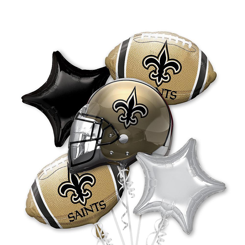 Pleasing New Orleans Saints Football Balloon Bouquet 5Pc Party City Personalised Birthday Cards Veneteletsinfo