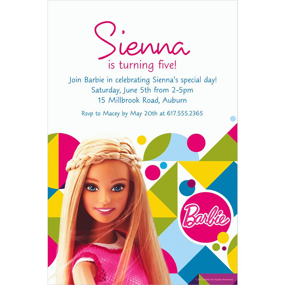 Custom Barbie Sparkle Invitation Image #1
