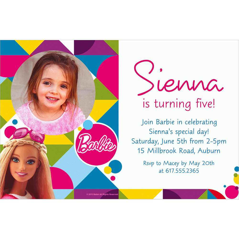 Custom Barbie Sparkle Photo Invitation Image #1