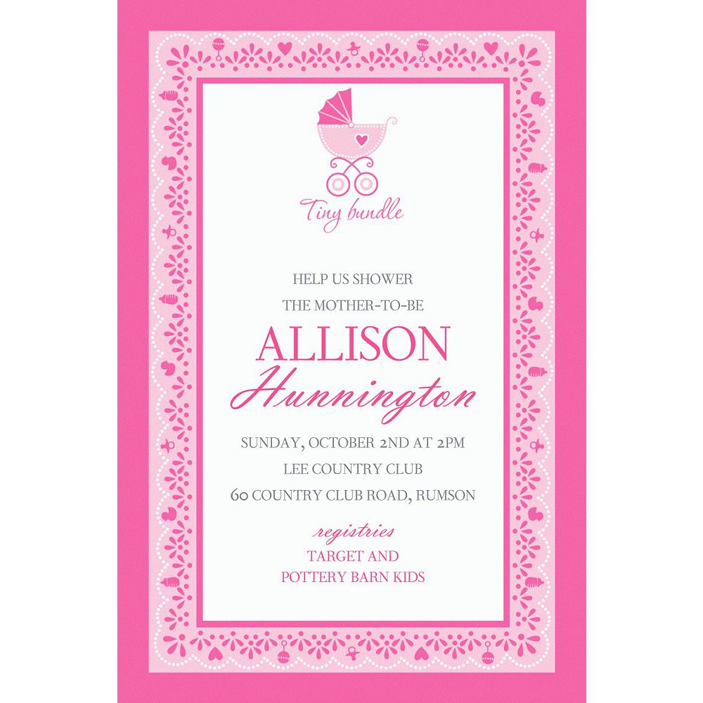 Custom Celebrate Baby Girl Invitation Image #1
