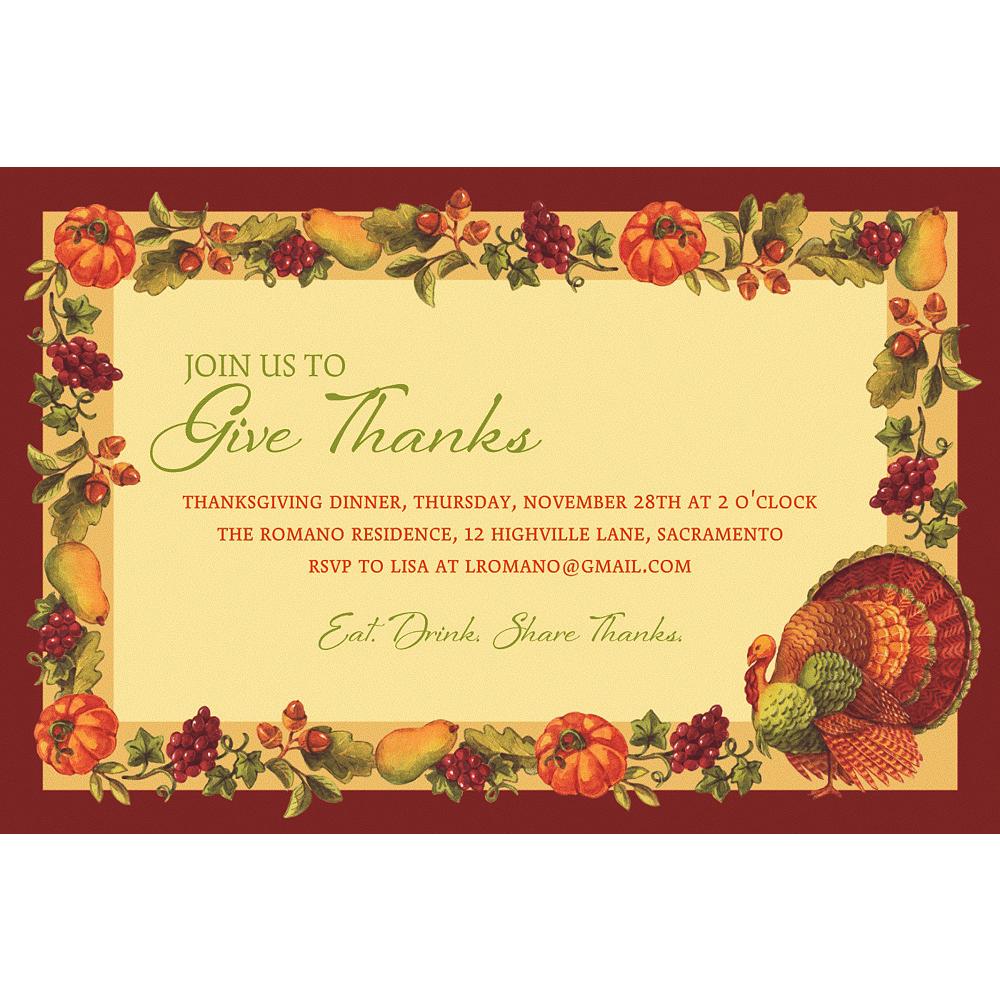 Custom Joyful Thanksgiving Invitation Image #1
