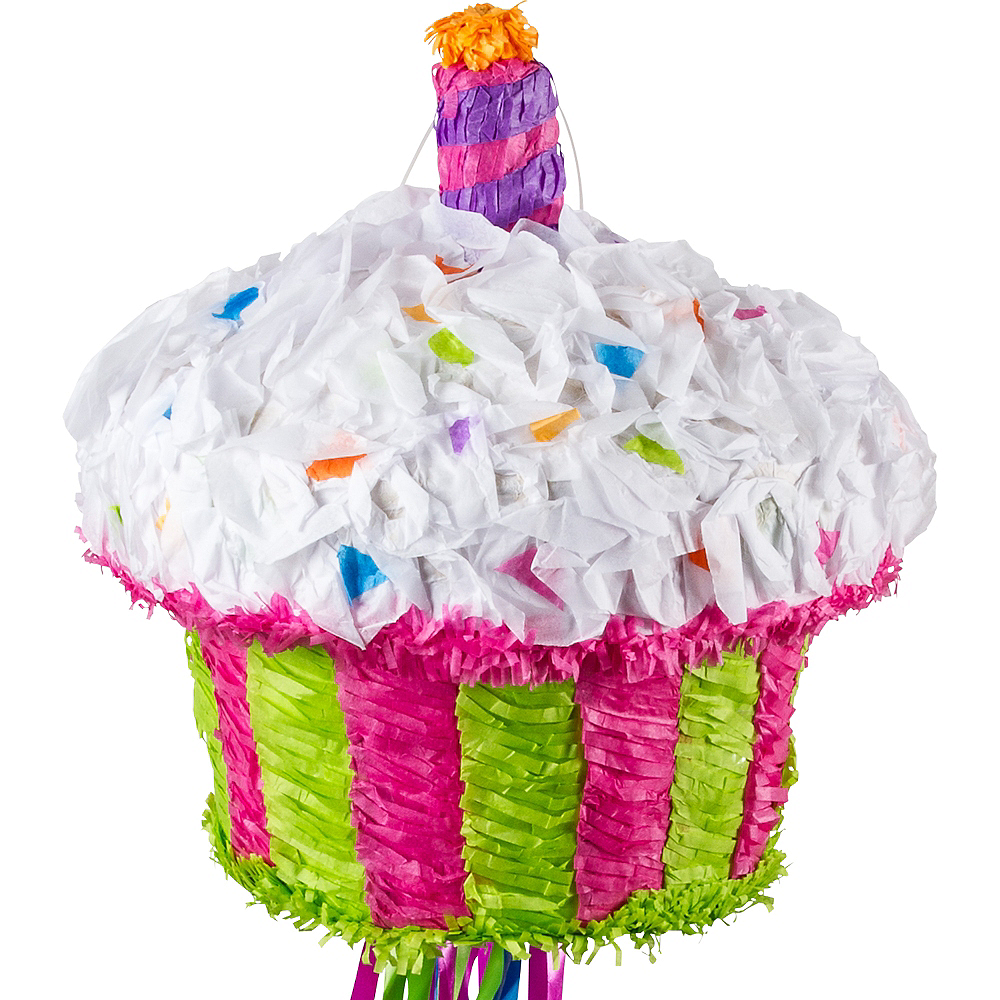 Pull String Birthday Cupcake Pinata 10in X 12in Party City