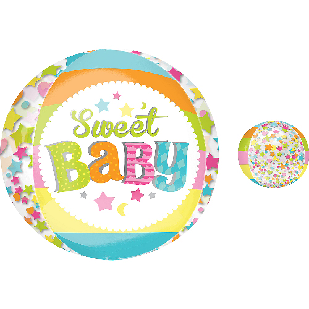 Baby Shower Balloon - Orbz Sweet Baby Moon, 16in Image #1