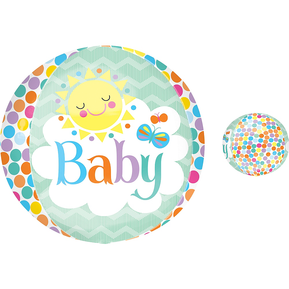 Nav Item for Baby Shower Balloon - Orbz Polka Dot Baby Sun Image #1