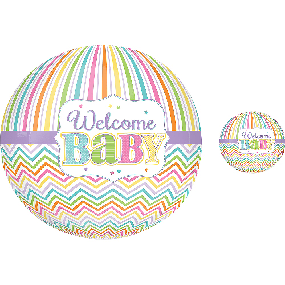 Pastel Rainbow Chevron Welcome Baby Balloon - Orbz, 16in Image #1