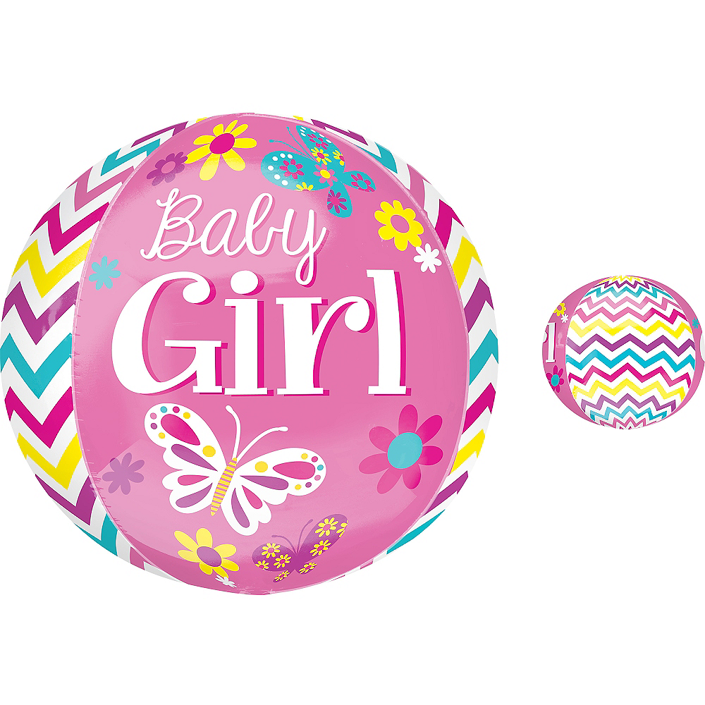 Baby Shower Balloon - Orbz Chevron Beautiful Baby Girl Image #1