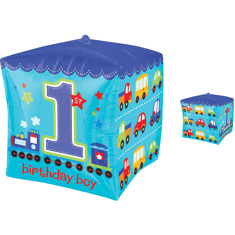 Boy 1st Birthday Balloon - Cubez All Aboard, 15in Image #1