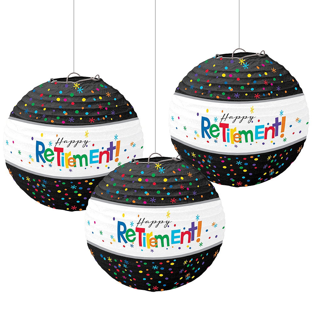 Happy Retirement Celebration Paper Lanterns 3ct Image #1