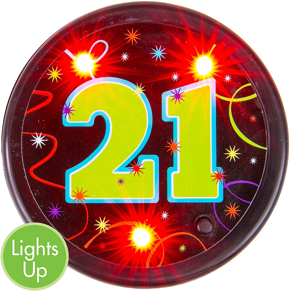 Light-Up Brilliant 21st Birthday Button Image #1