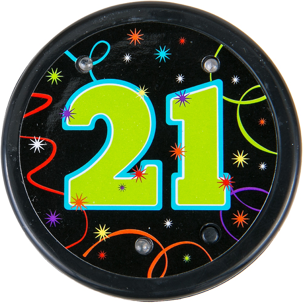 Light-Up Brilliant 21st Birthday Button Image #2