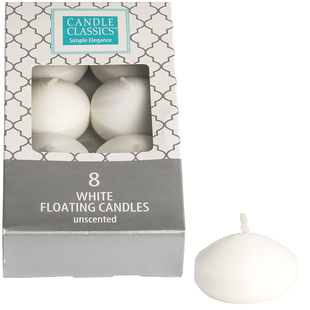 White Floating Candles 8ct Image 1