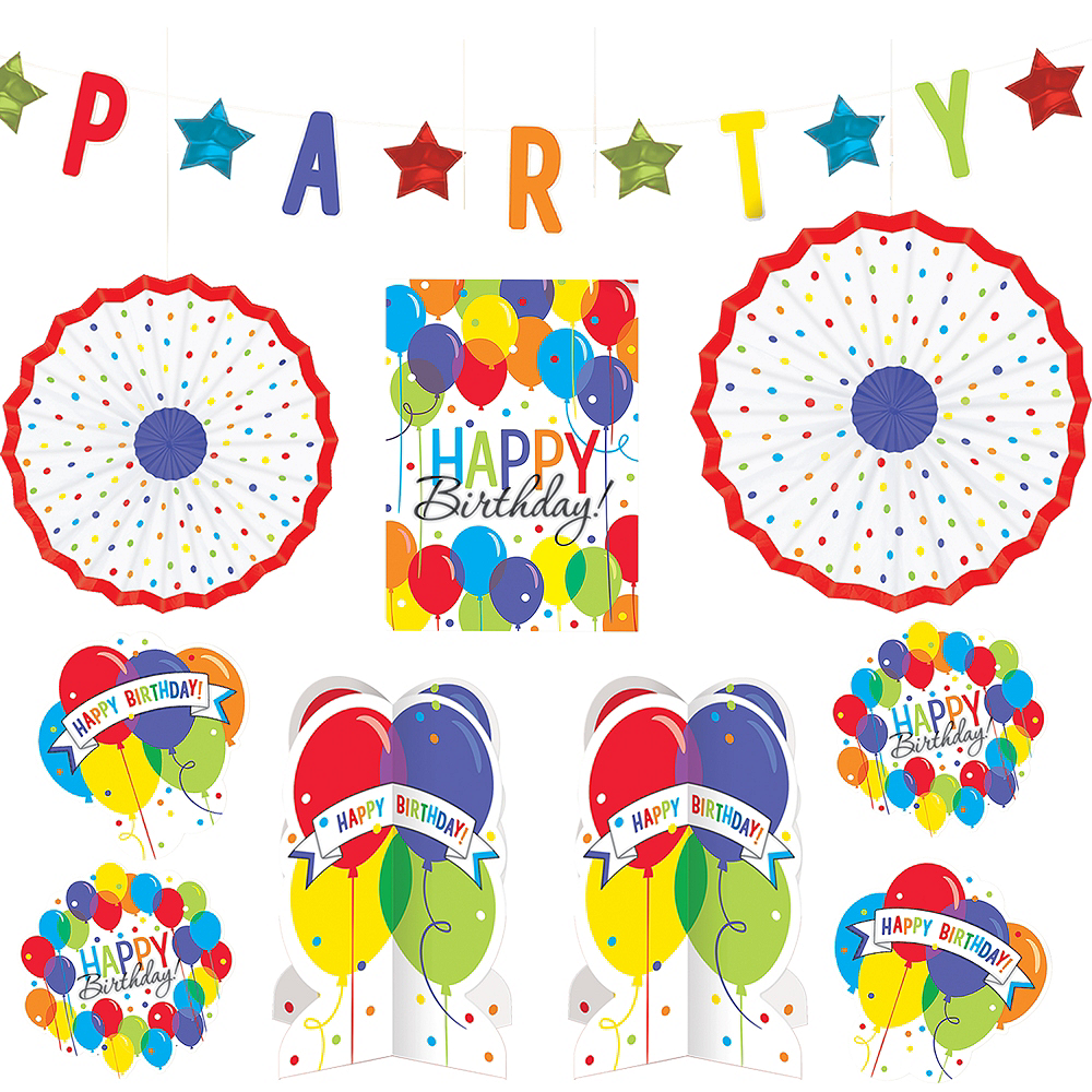 Rainbow Balloon Bash Birthday Room Decorating Kit 10pc Image 1