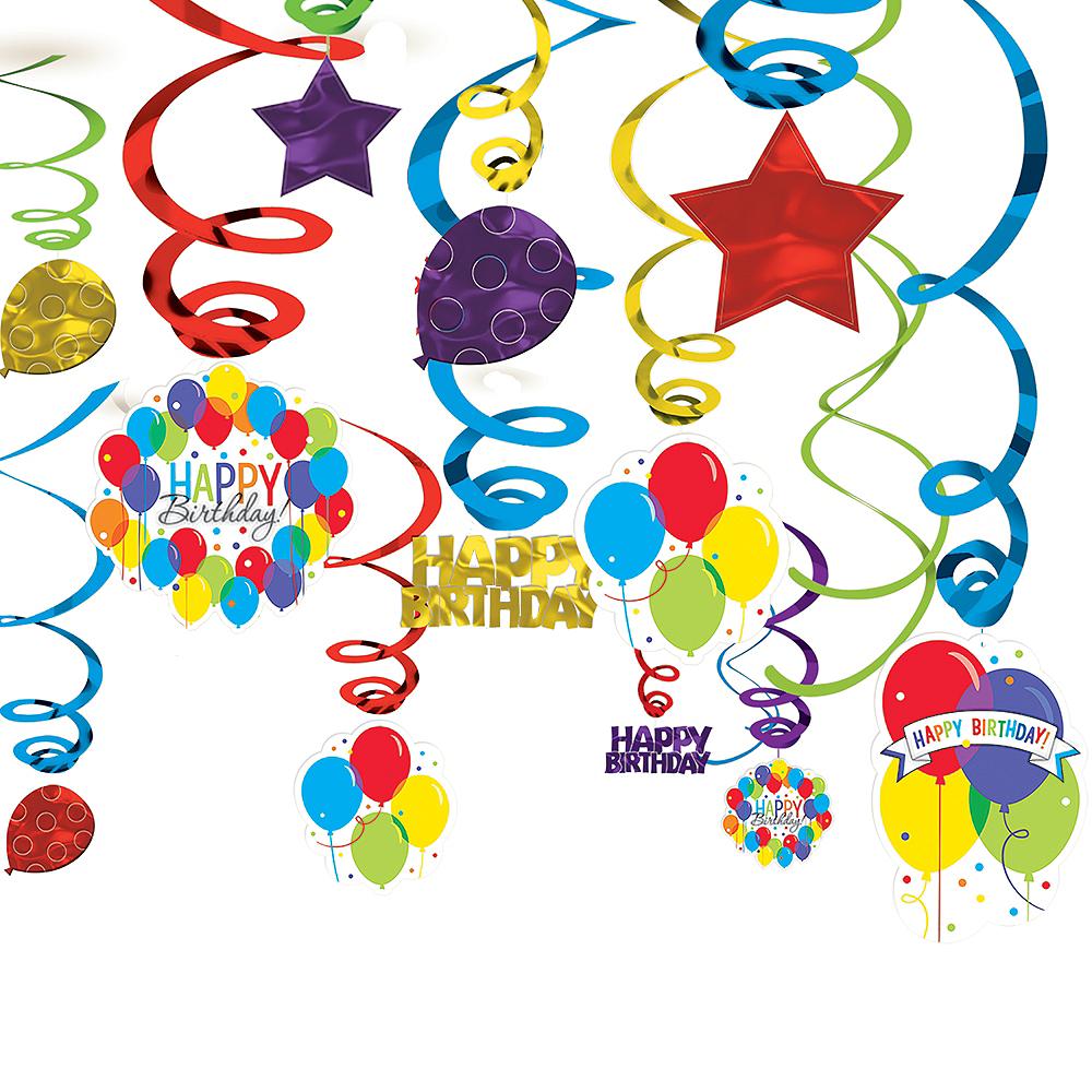 Rainbow Balloon Bash Birthday Swirl Decorations 50ct Image #1