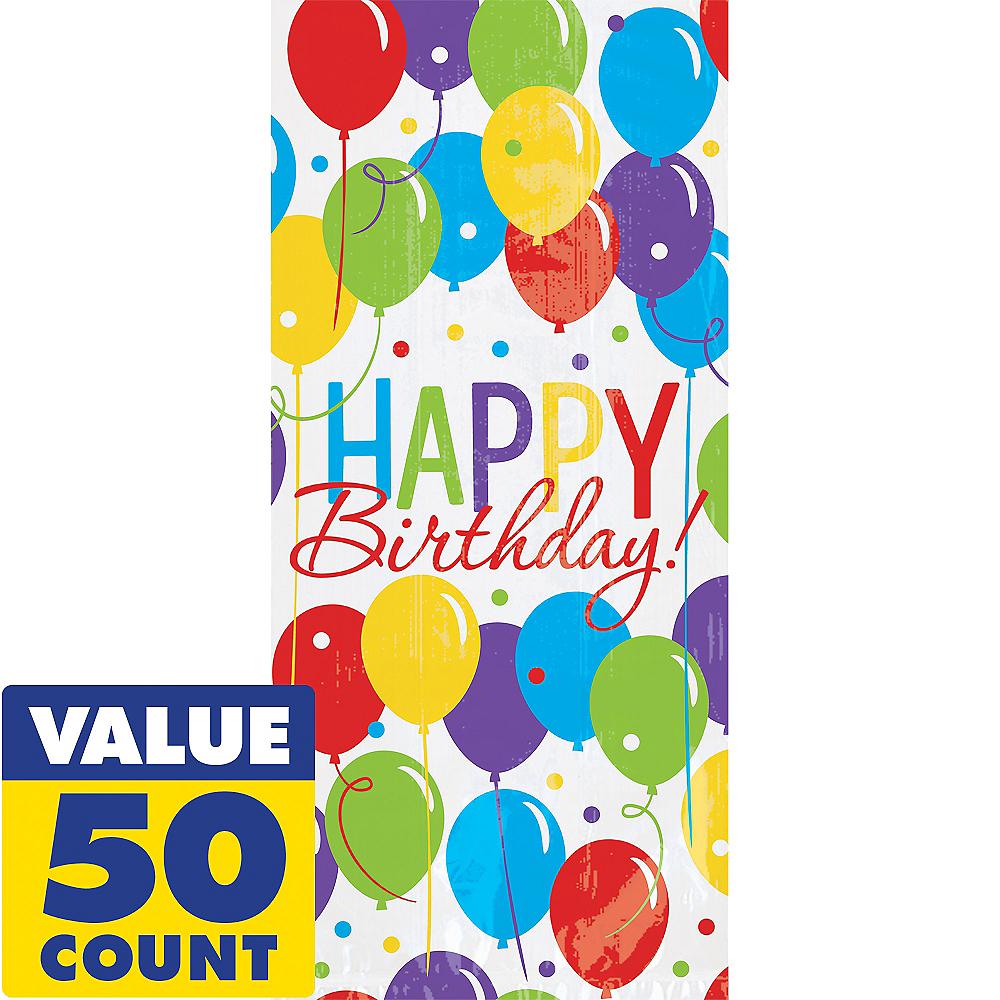 Rainbow Balloon Bash Birthday Treat Bags 50ct Image #1