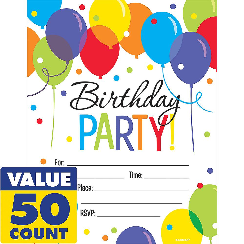 Rainbow Balloon Bash Birthday Invitations 50ct | Party City