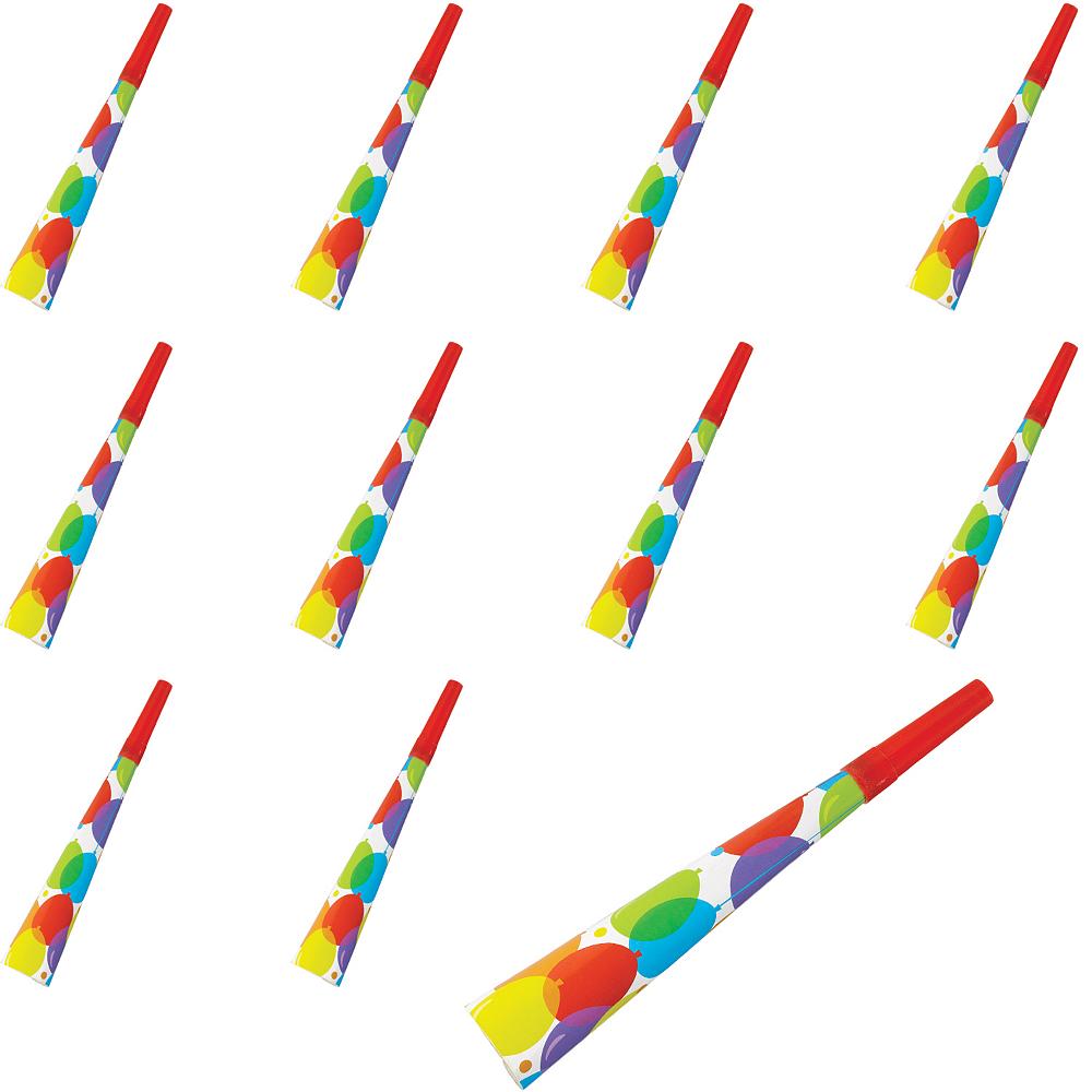 Rainbow Balloon Bash Birthday Party Horns 24ct Image #1