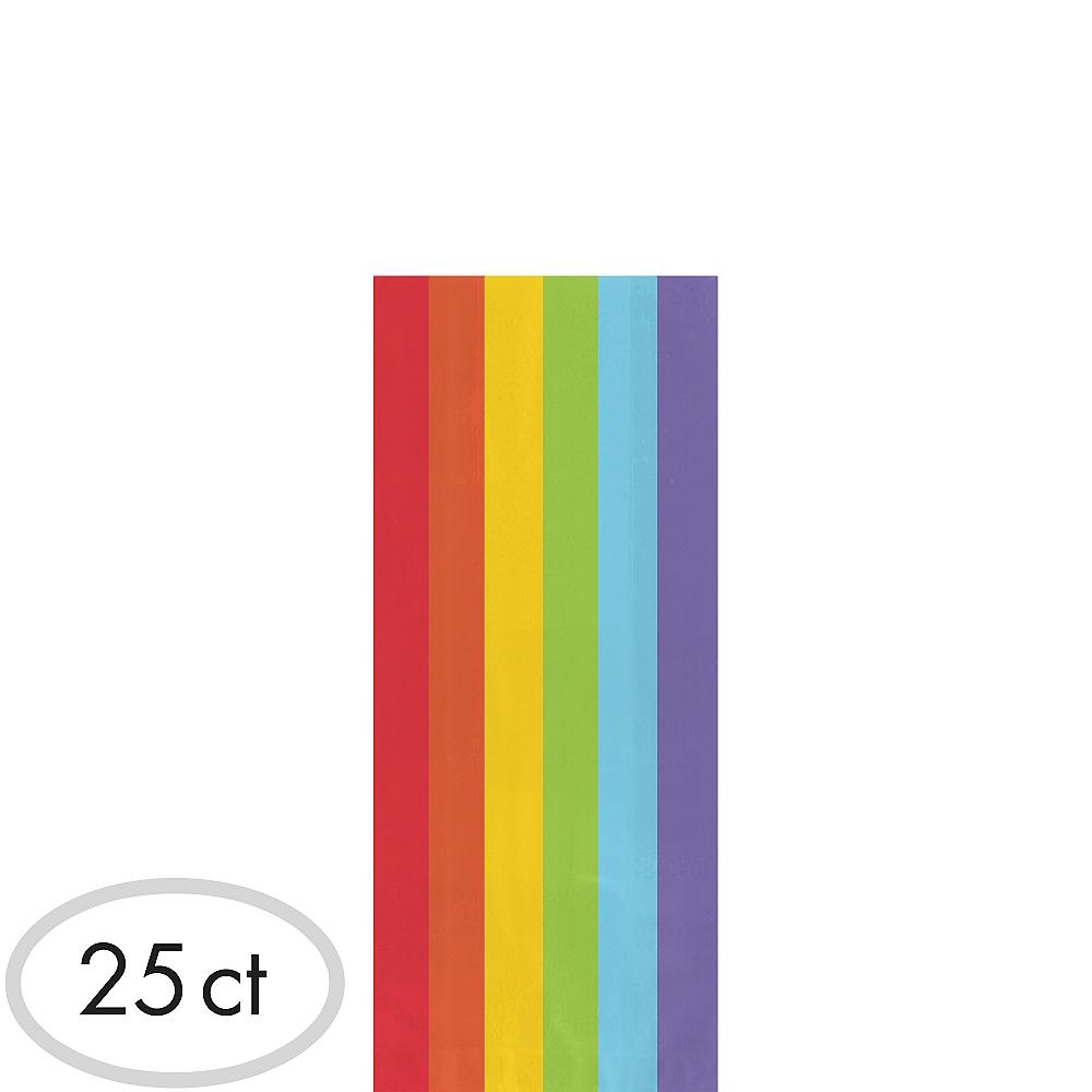 Medium Rainbow Plastic Treat Bags 25ct Image #1