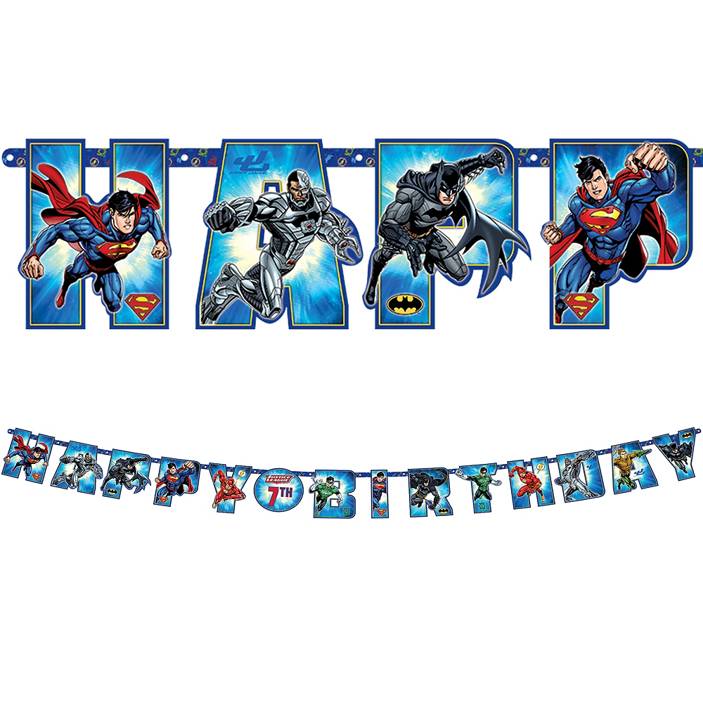 Justice League Birthday Banner Kit Image #1