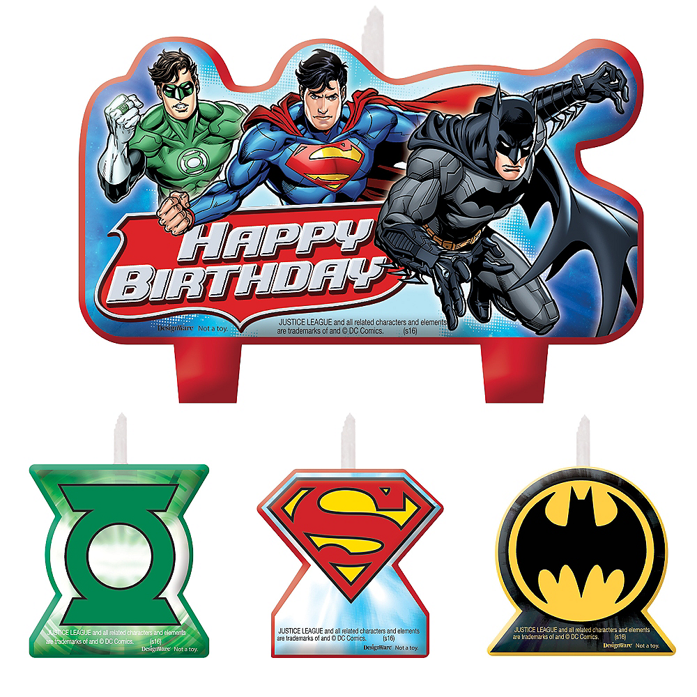 Justice League Birthday Candles 4ct Image #1