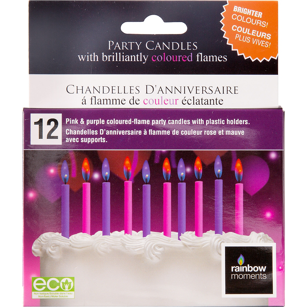 Pink & Purple Colored Flame Candles 12ct Image #1