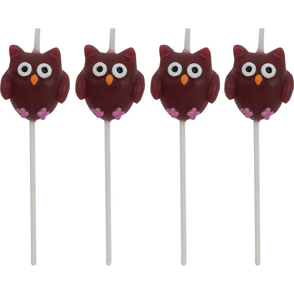 Nav Item for Owl Birthday Toothpick Candles 4ct Image #1