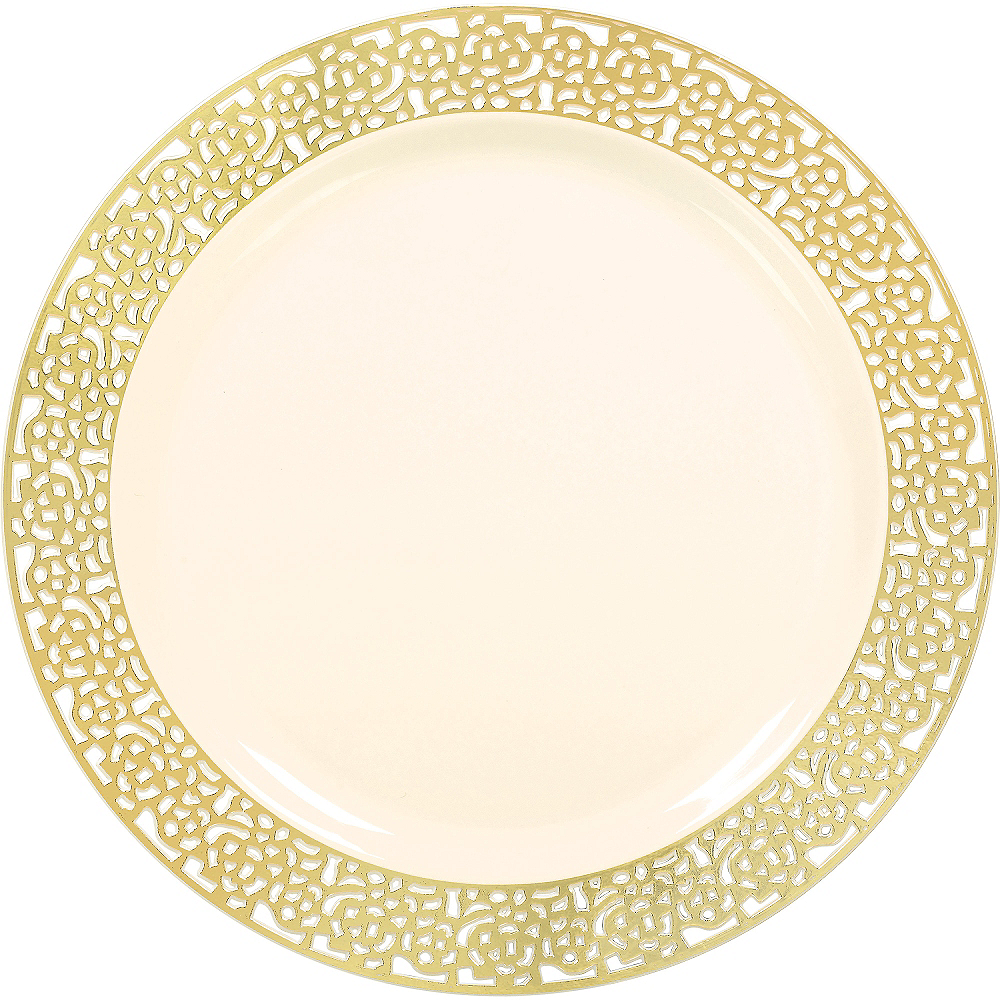 Cream Gold Lace Border Premium Plastic Dinner Plates 10ct Image #1