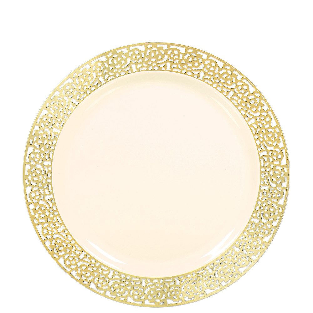 Cream Gold Lace Border Premium Plastic Lunch Plates 20ct Image #1