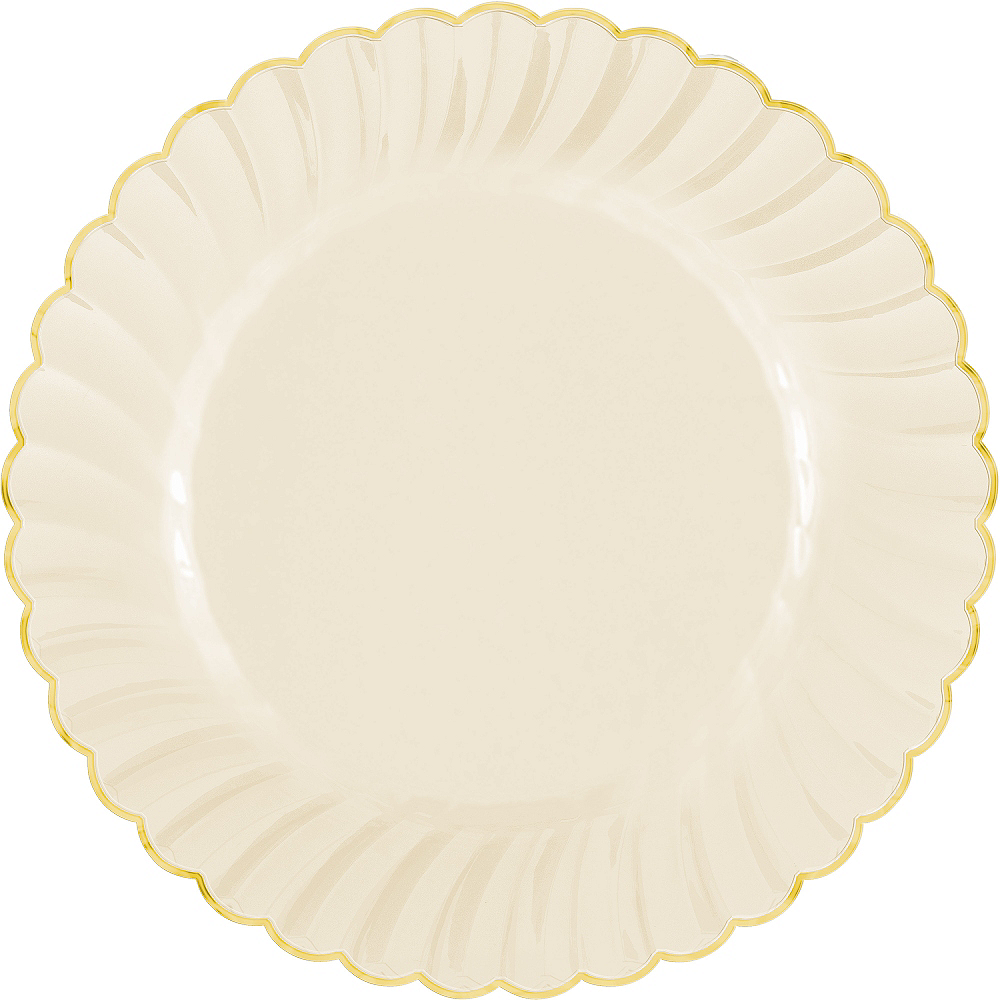 Cream Gold-Trimmed Premium Plastic Scalloped Dinner Plates 10ct Image #1