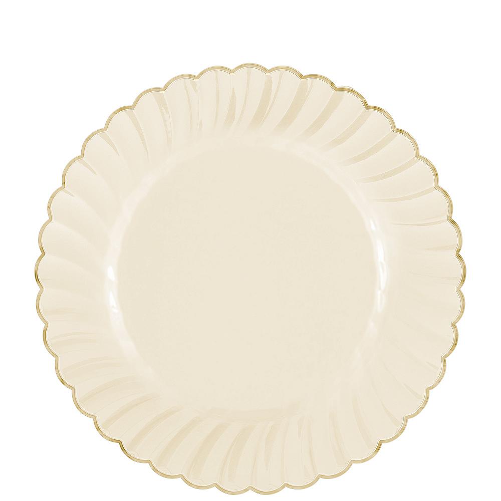 Cream Gold-Trimmed Premium Plastic Scalloped Lunch Plates 20ct Image #1