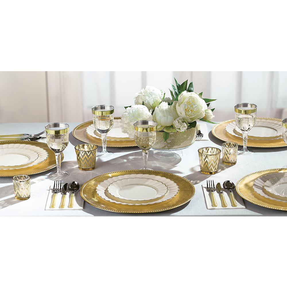 Cream Gold-Trimmed Premium Plastic Scalloped Lunch Plates 20ct Image #3