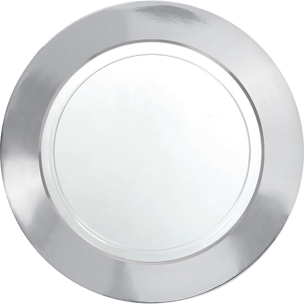 CLEAR Silver Border Premium Plastic Dinner Plates 10ct Image #1