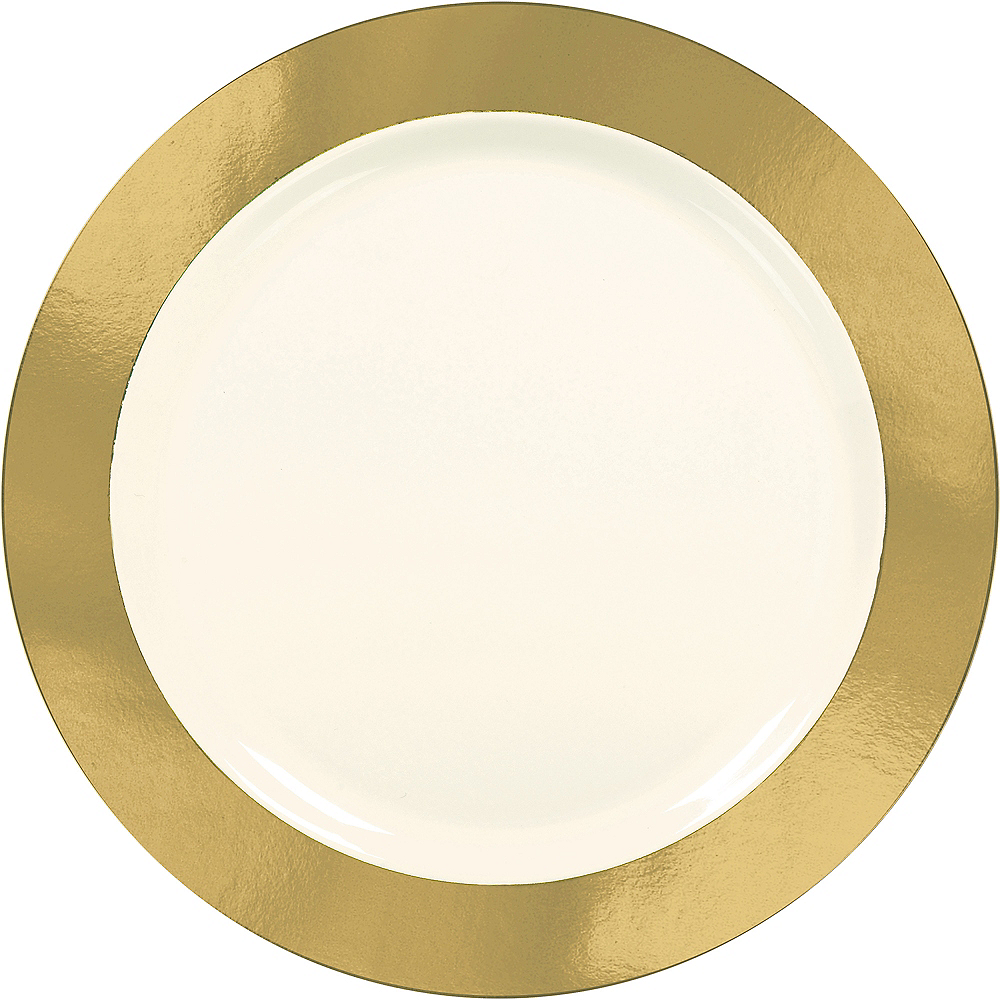 Cream Gold Border Premium Plastic Dinner Plates 10ct Image #1