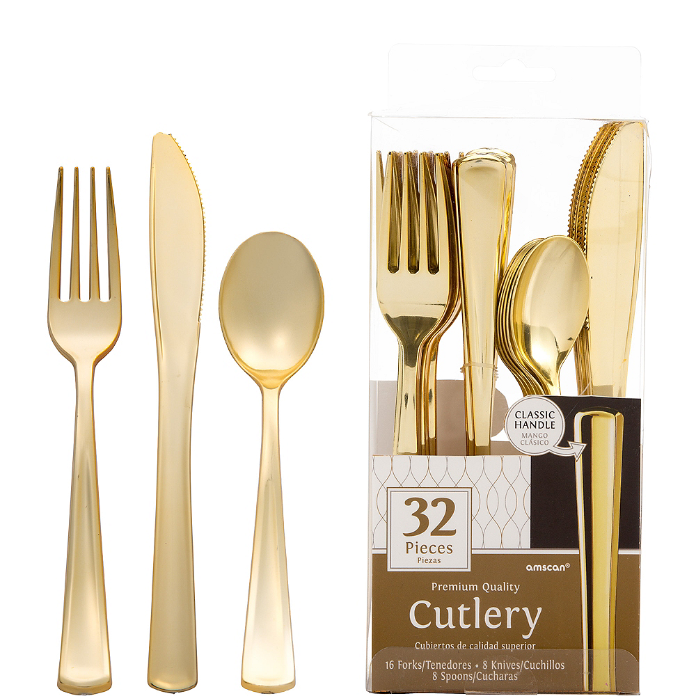 Nav Item for Gold Premium Plastic Cutlery Set 32ct Image #1