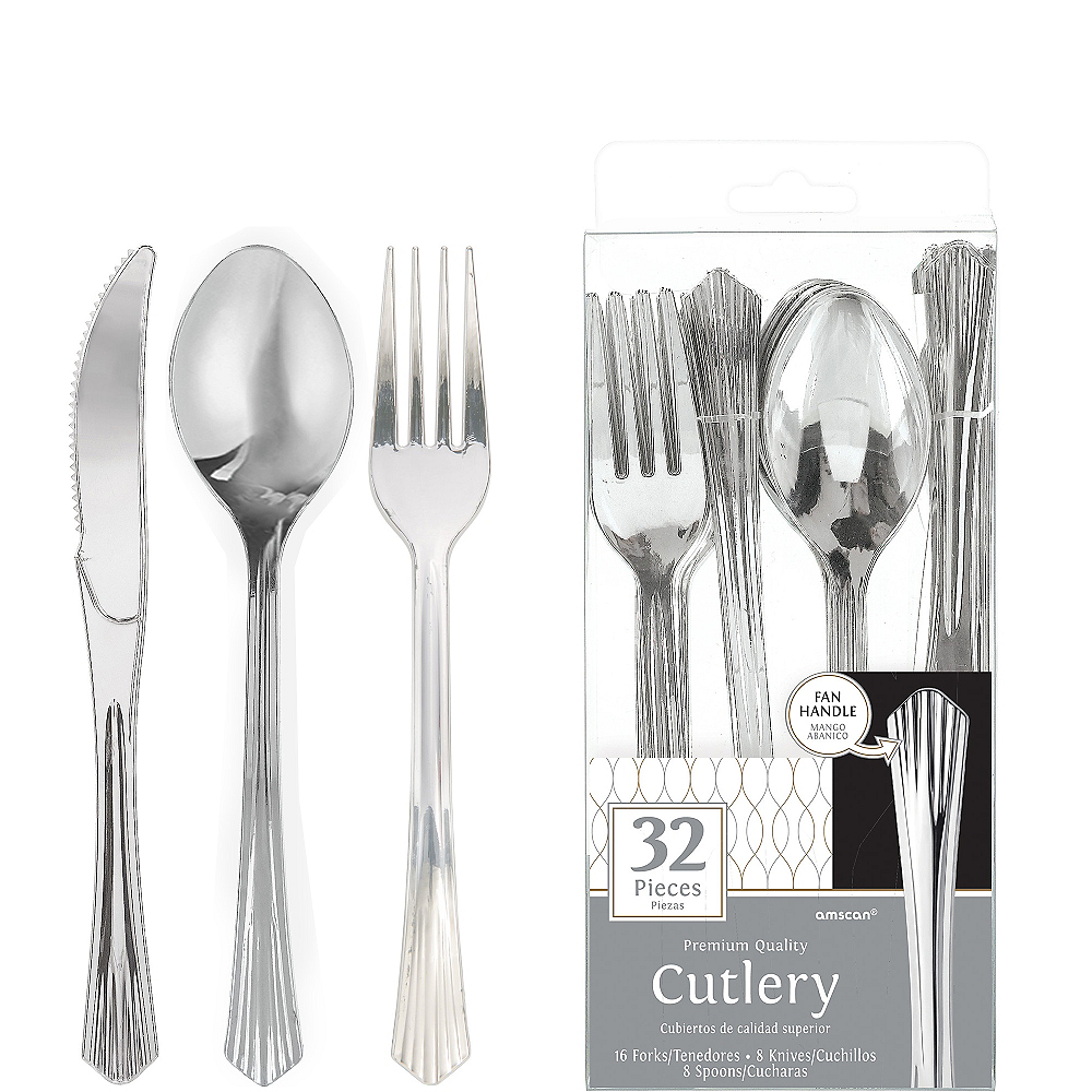 Nav Item for Silver Fan Handle Premium Plastic Cutlery Set 32ct Image #1