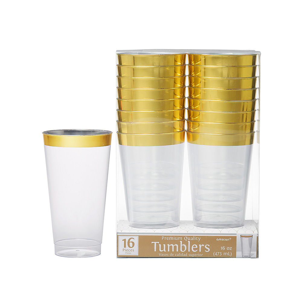 CLEAR Gold-Trimmed Premium Plastic Cups 16ct Image #1
