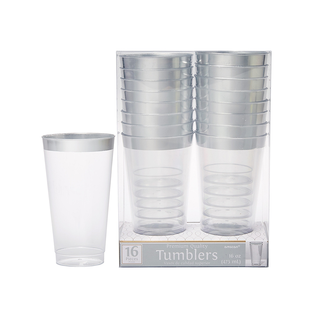 CLEAR Silver-Trimmed Premium Plastic Cups 16ct Image #1