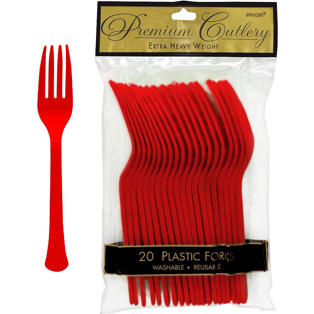 Nav Item for Red Premium Plastic Forks 20ct Image #1