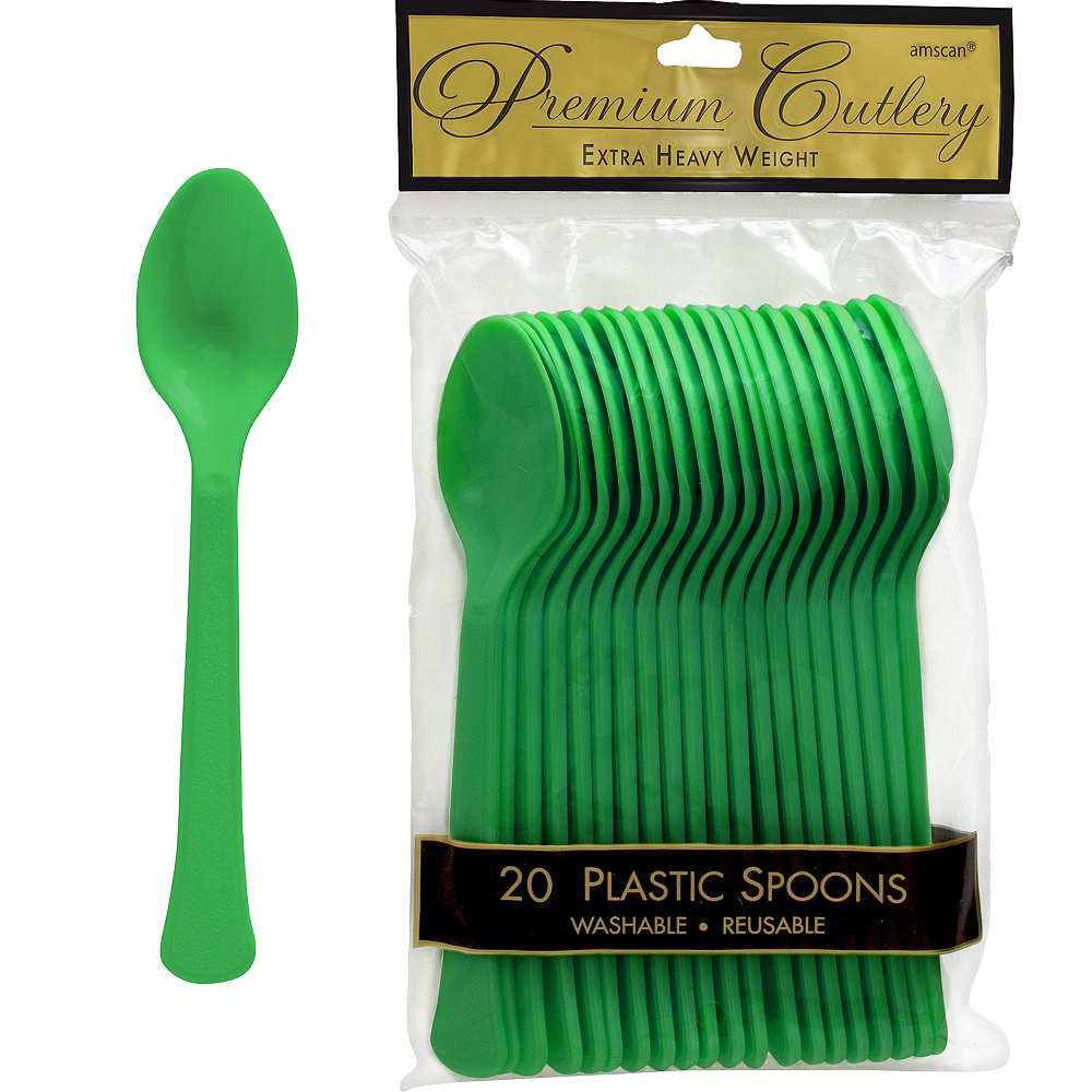 Nav Item for Festive Green Premium Plastic Spoons 20ct Image #1