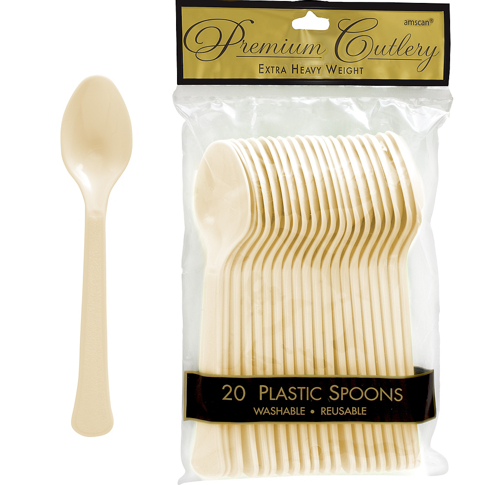Nav Item for Vanilla Cream Premium Plastic Spoons 20ct Image #1