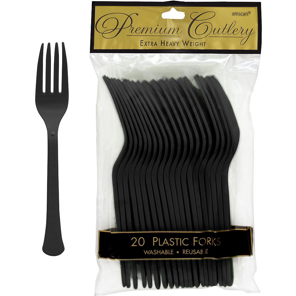 Black Premium Plastic Forks 20ct Image #1