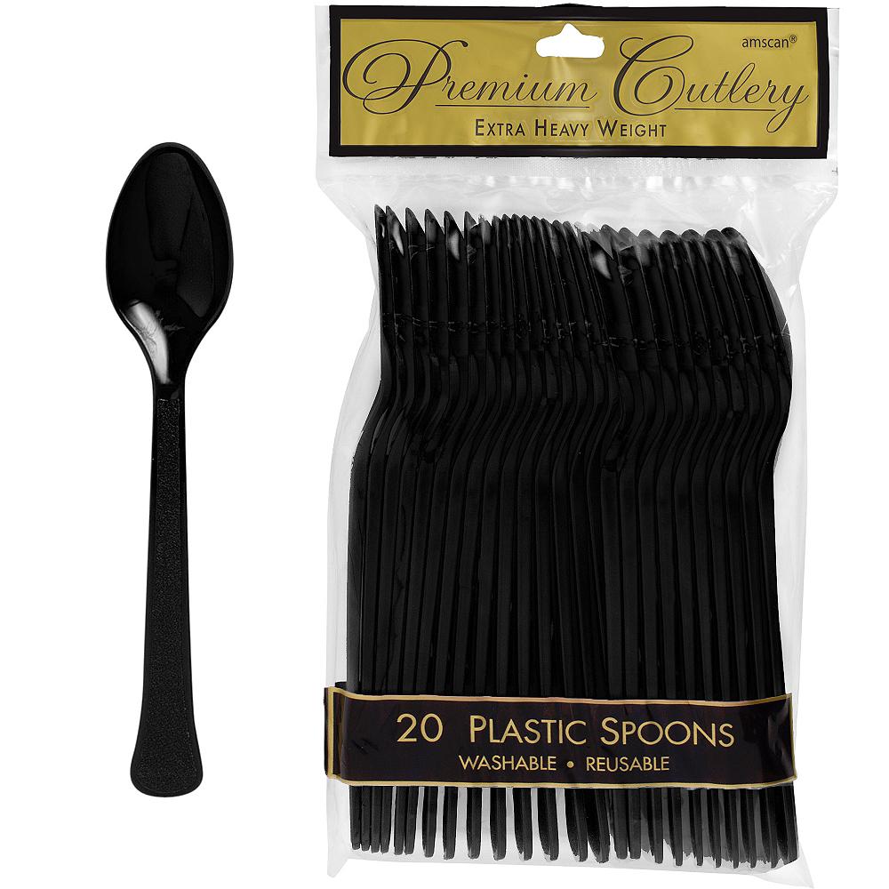 Black Premium Plastic Spoons 20ct Image #1