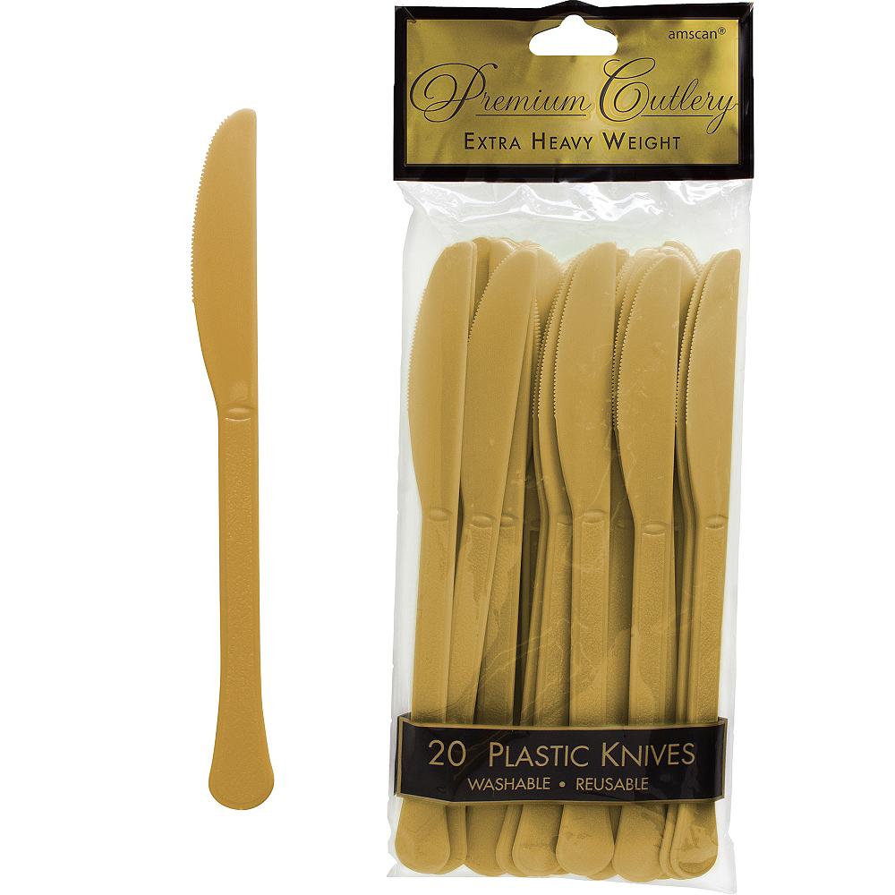 Gold Premium Plastic Knives 20ct Image #1