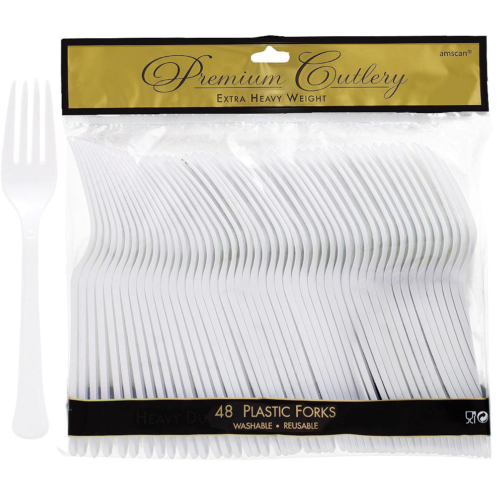 White Premium Plastic Forks 48ct Image #1