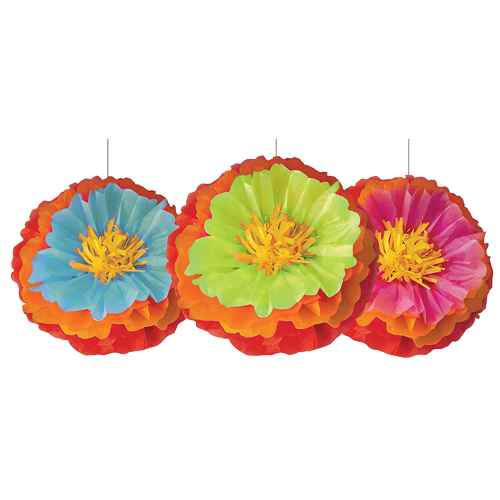Fiesta Flower Tissue Pom Poms 3ct Party City