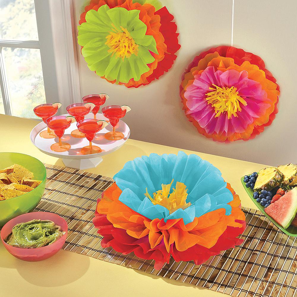 Fiesta Flower Tissue Pom Poms 3ct Image #2