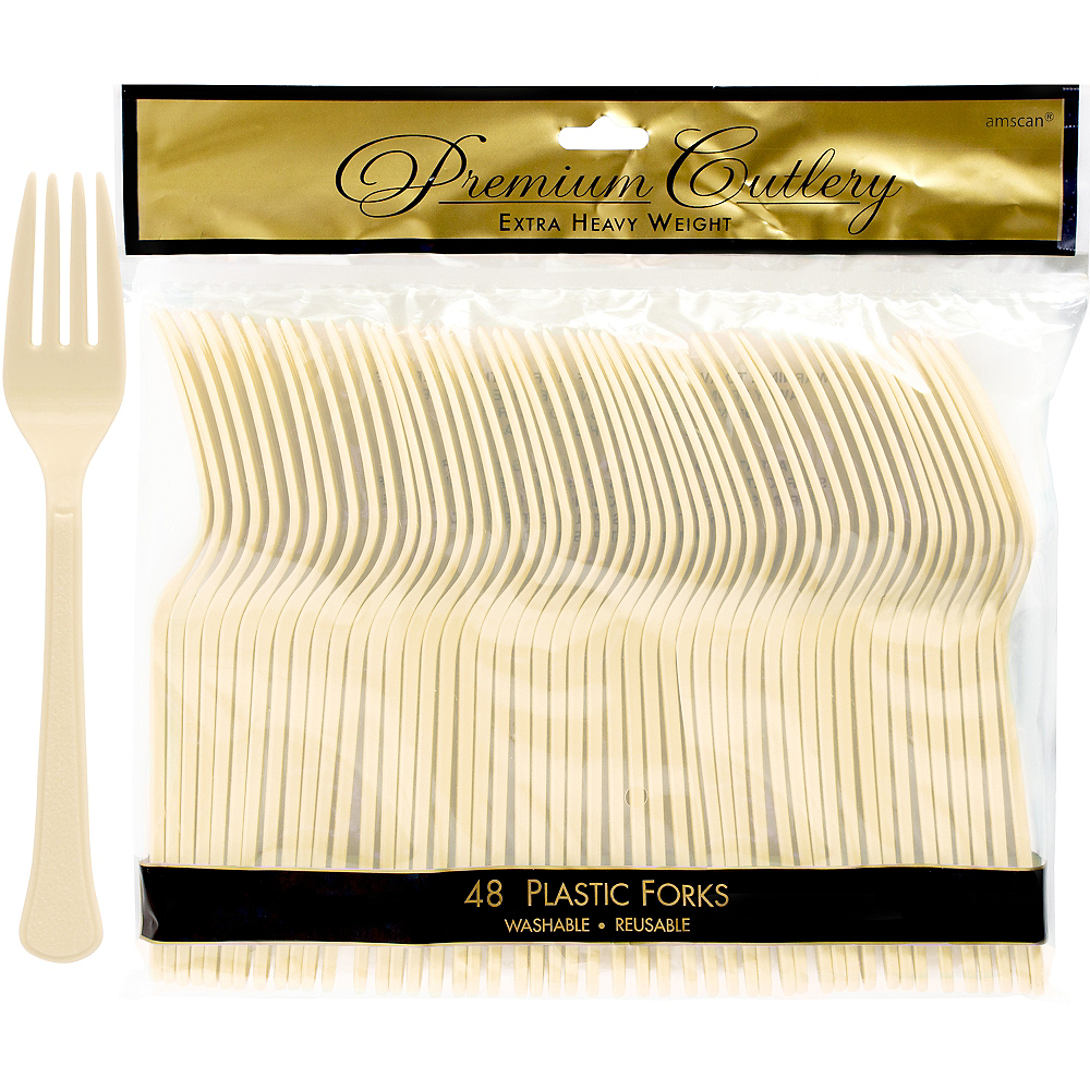 Nav Item for Vanilla Cream Premium Plastic Forks 48ct Image #1