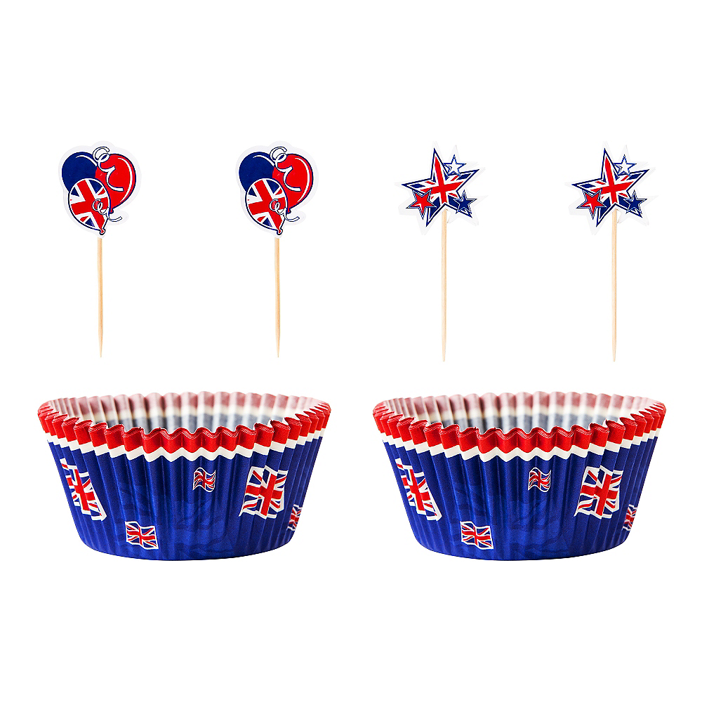 Union Jack Cupcake Decorating Kit for 24 - Great Britain Image #1